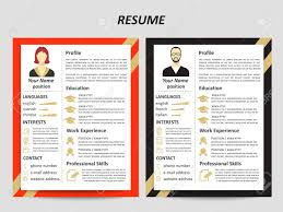 Resume Modern Ex Modern Style Male And Female Resume Templates With Flat Elements