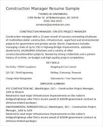 construction manager resume sample construction manager resume sample