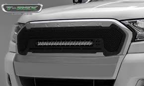 t rex ford ranger t6 torch stealth series main replacement main replacement grille w one 20 inch slim line single row led light bar black stealth includes universal wiring harness part 6315761 br