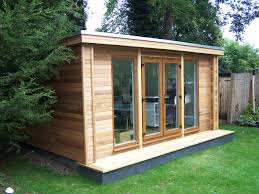 outdoor garden office. flat roof garden office with upvc oak windows outdoor