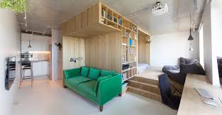 Image Plan Small Apartment In Moscow With Small Foorprint Homedit Small Studio Organized Around Wooden Box Volume