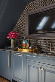 office mini bar. Elizabeth Reich - Fabulous Home Office Features An Alcove Filled With Blue Wet Bar Cabinets Topped Mini