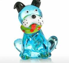 Glass Mini <b>Dog</b> Figurine <b>Home Decoration Modern</b> Blue Squatting ...