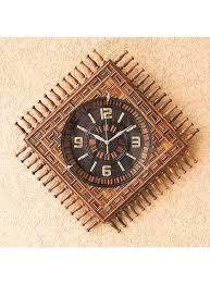 <b>Wall</b> Clock Carving Square | Handcrafted <b>Wooden Wall</b> Clocks