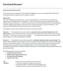 Functional Resume Template Pdf Easy Chronological Example