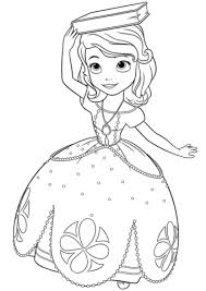 princess sofia with a book on her head coloring page