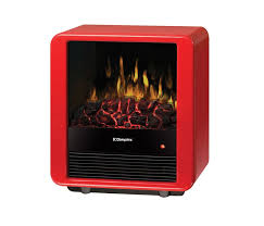 gloss red 4 674 btu 13 wide free standing fan forced mini cube electric stove with zero emission and cool touch glass front dmcs13r canada