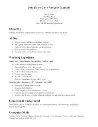 Sample Resume For Data Entry Clerk Data Entry Cv Manqal Hellenes Co