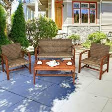 gymax 4pcs patio conversation set