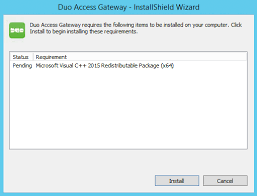 duo access gateway for windows duo security duo access gateway installation visual studio c redistributable