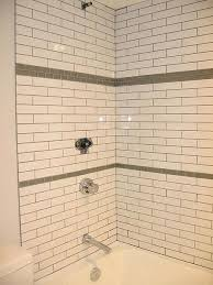 shower accent tile with white subway tile darker grout shower tile ideas accent tile in