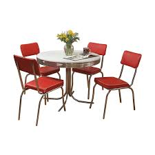 Red dining table set Red Leather Tms Furniture Retro Red Dining Set With Round Dining Table Lowes Tms Furniture Retro Red Dining Set With Round Dining Table At Lowescom