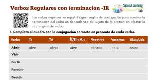 Conjugating Ir Regular Verbs In Spanish Present Pdf
