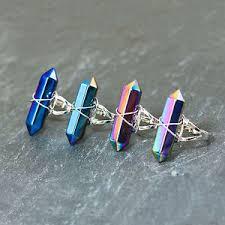 image is loading rainbow quartz crystal ring blue silver boho bohemian