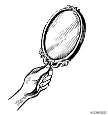 hand mirror drawing. Hand Holding A Mirror. Black And White Ink Illustration Mirror Drawing T