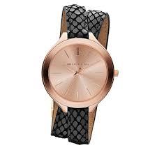 michael kors watch mk2322 slim runway rose gold dial black leather double strap las watch