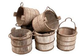 Click Images to Zoom Old Wooden Water Bucket: Collection of Old Water  Buckets