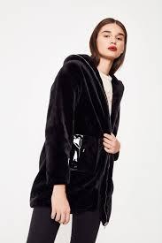 faux fur jacket with pu pockets