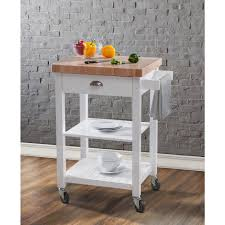 bedford white kitchen cart with butcher block top