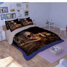 3pcs set 3d skull bedding sets soft duvet cover set with pillowcasebedsheet bedclothes fashion bed