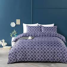 2018 simple style boho navy blue duvet cover set microfiber fabric striped geometric twin queen king duvet covers home bedding set queen size duvet