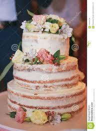 Beautiful Wedding Cake With Cream And Flowers Stock Photo Image Of