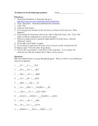 chemical equations practice sheet balancing and identifying chemical equations