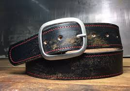 distressed leather belt red stitched vintage aged snap belt handmade in usa