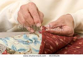 Woman Hand Sewing Binding On Quilt Stock Photo 46339126 - Shutterstock & A woman hand sewing binding on a quilt. Adamdwight.com