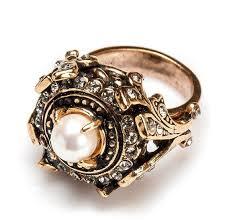 Винтажное кольцо с жемчугом и кристаллами <b>позолоченное</b> ...