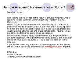 academic reference letter academic reference sample sufficient portrayal writing a letter 14