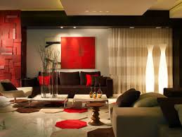 ... Living Room, Red Living Room Ideas With Sofa And Brown Sofa And Cushion  And Wooden ...