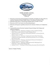 Work Meeting Agenda October 9 2018 Work Session Council Meeting Agendas City