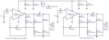 car audio amplifier circuit schematic using tda2003 car audio amplifier circuit diagram