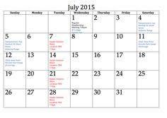43 Best July 2015 Calendar Images 2015 Calendar Printable