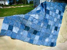 Blue Log Cabin Denim Quilt Queen Size Upcycled by CrookedSeamz ... & RESERVED LISTING for Buckett359 - King Size Upcycled Denim Rag Quilt Jean  Quilt with Matching Shams Adamdwight.com