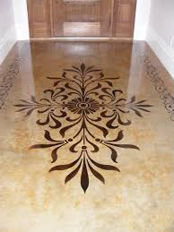 modello stencil on acid stained concrete flooring makes for an elegant entry way