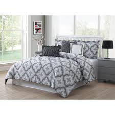 brussels 7 piece grey white black queen reversible comforter set ymz008012 the home depot