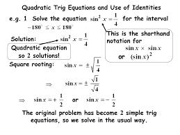 28 quadratic trig equations