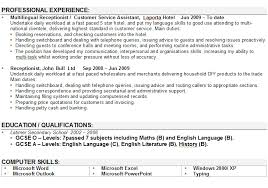 Cv Writing Examples Personal Profile Receptionist Cv Sample