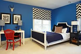 interactive teen black and blue bedroom decoration using black and white zigzag bedroom curtain along with blue navy velvet headboard and red wooden lattice