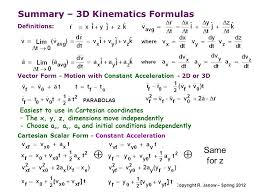 summary 3d kinematics formulas
