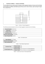 Bolt Shear Strength Chart Minimum Bolt Thread Engagement With Respect To Various
