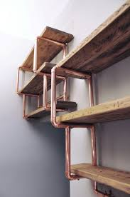 industrial reclaimed wood furniture. copper pipe reclaimed wood shelving industrial furniture