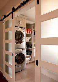 laundry room with modern barn doors - HOMEDECORT