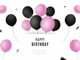 Happy Birthday Background With Black And Pink Balloons By Sara