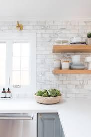 white marble tile kitchen. Interesting Tile Pale Grey Cabinets Marble Subway Tile Brass Sconces Floating Shelves In  Wood Inside White Marble Tile Kitchen D