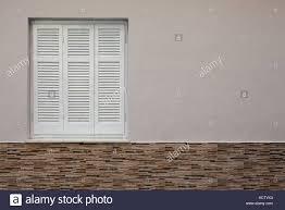 Weiß Geschlossene Fenster In Der Hauswand Details Der Wand