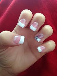 Nail Designs Pictures French Tip French Tip With Black Silver Design French Tip Nail