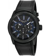 leather strap black watch 10022537 kenneth cole 10022537 black mens